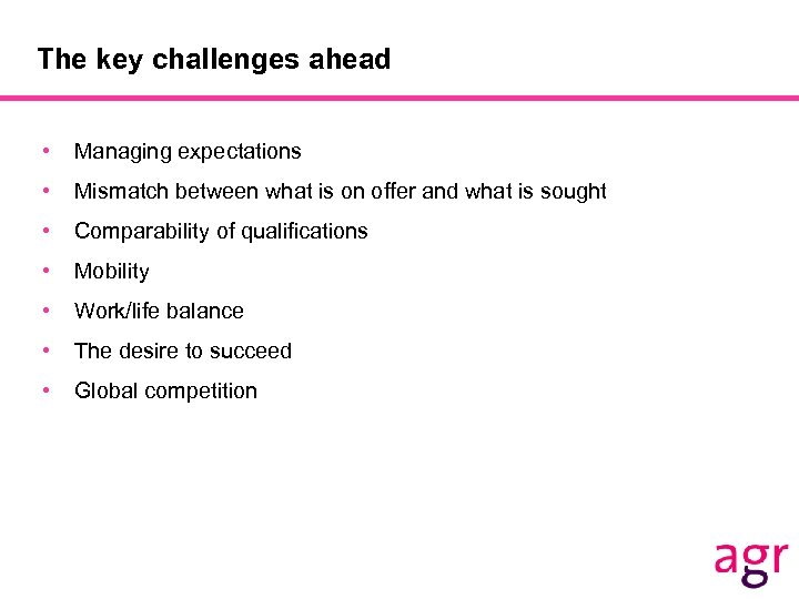 The key challenges ahead • Managing expectations • Mismatch between what is on offer