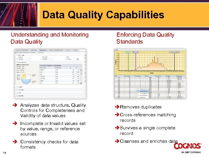 Data Quality Capabilities Understanding and Monitoring Data Quality è Analyzes data structure, Quality Controls