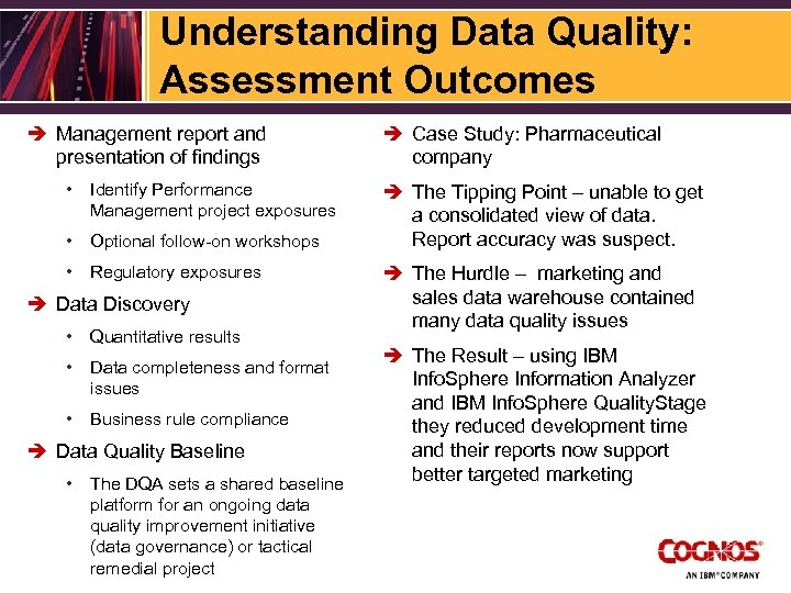 Understanding Data Quality: Assessment Outcomes è Management report and presentation of findings • Identify