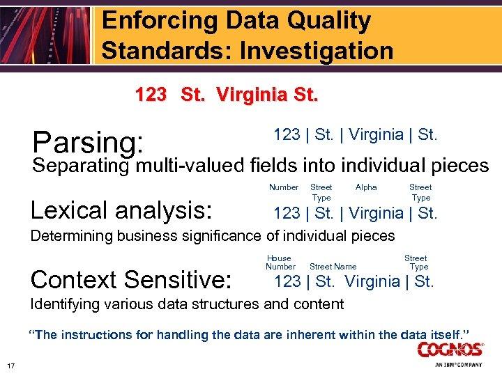 Enforcing Data Quality Standards: Investigation 123 St. Virginia St. Parsing: 123 | St. |