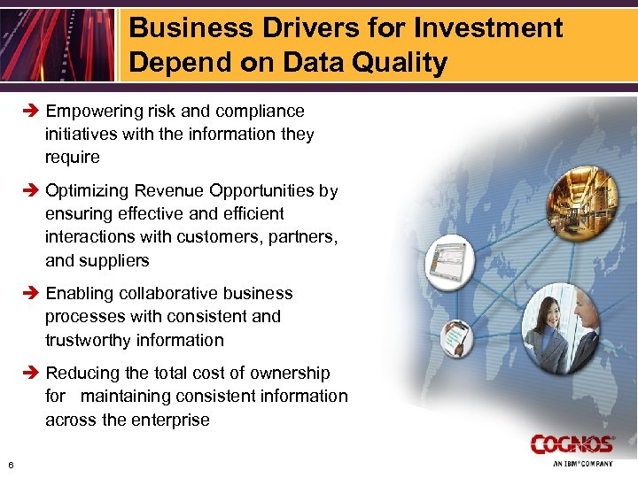 Business Drivers for Investment Depend on Data Quality è Empowering risk and compliance initiatives