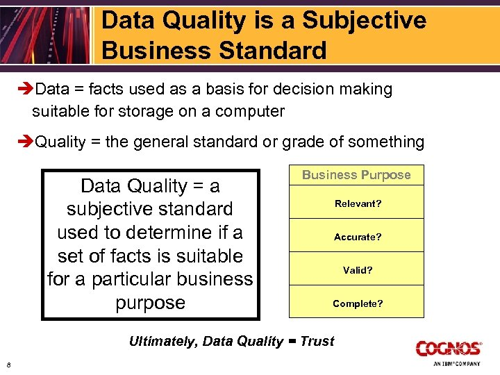 Data Quality is a Subjective Business Standard èData = facts used as a basis