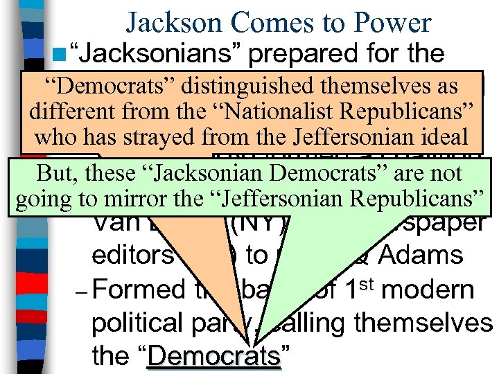 """Jackson Comes to Power n """"Jacksonians"""" prepared for the """"Democrats""""of 1828 by creating a"""