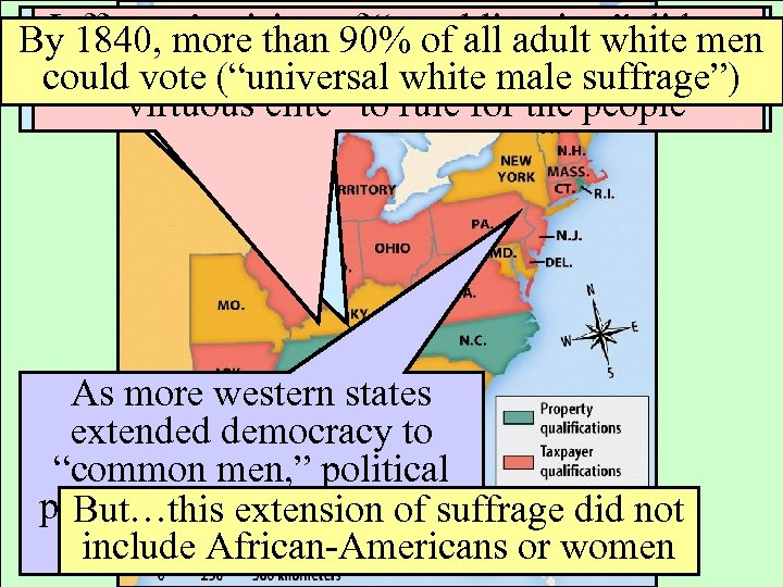 """Westward expansion """"republicanism""""suffrage Jefferson's vision 90% to increased did not By 1840, more than"""