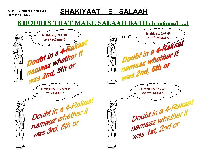 SIJNY Youth For Excellence Ramadhan 1424 SHAKIYAAT – E - SALAAH 8 DOUBTS THAT