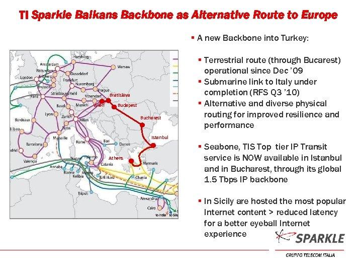 TI Sparkle Balkans Backbone as Alternative Route to Europe § A new Backbone into
