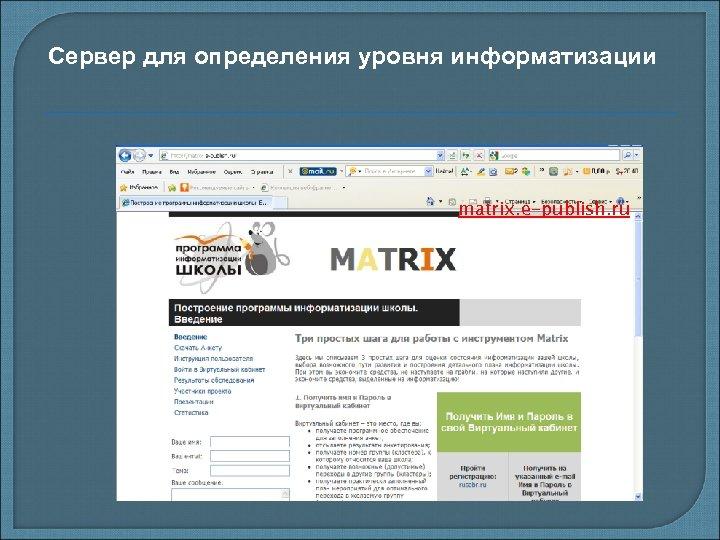 Сервер для определения уровня информатизации matrix. e-publish. ru