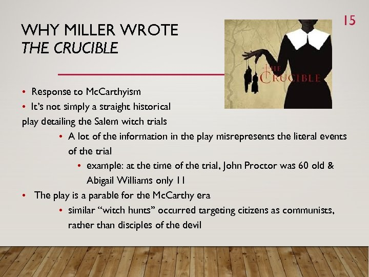 a summary of john proctors experiences with the salem witch trials in the crucible by arthur miller Arthur miller's masterpiece, the crucible, is a work of art inspired by actual events as a response to political and moral issues for this reason, the salem witch trials raise a question of the administration of justice during this time in the late 1600's, people were per occupied by a fear of the.