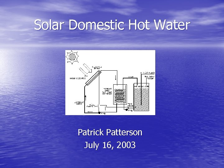 Solar Domestic Hot Water Patrick Patterson July 16, 2003