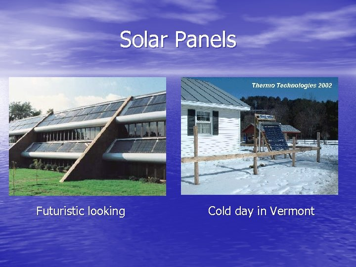 Solar Panels Futuristic looking Cold day in Vermont