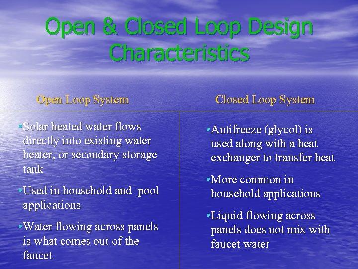 Open & Closed Loop Design Characteristics Open Loop System Closed Loop System • Solar