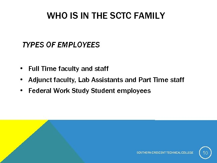 WHO IS IN THE SCTC FAMILY TYPES OF EMPLOYEES • Full Time faculty and