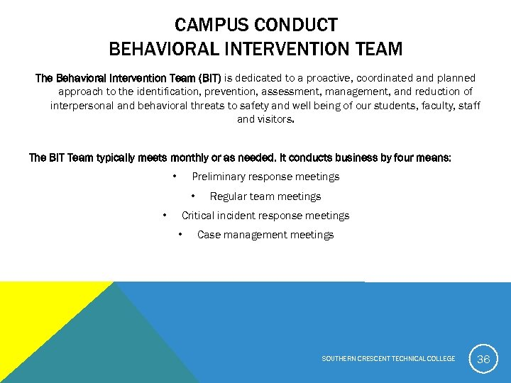 CAMPUS CONDUCT BEHAVIORAL INTERVENTION TEAM The Behavioral Intervention Team (BIT) is dedicated to a