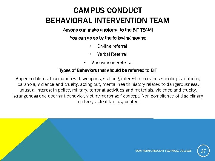 CAMPUS CONDUCT BEHAVIORAL INTERVENTION TEAM Anyone can make a referral to the BIT TEAM!