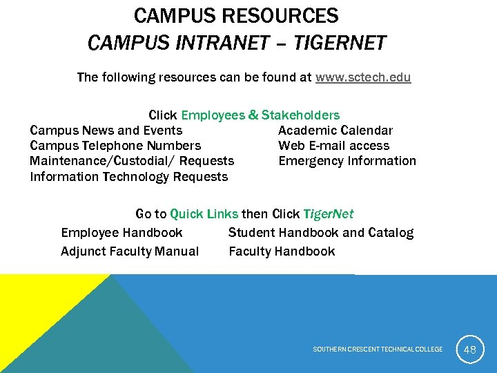 CAMPUS RESOURCES CAMPUS INTRANET – TIGERNET The following resources can be found at www.
