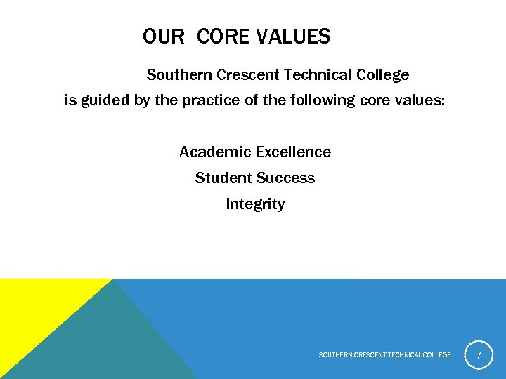 OUR CORE VALUES Southern Crescent Technical College is guided by the practice of the