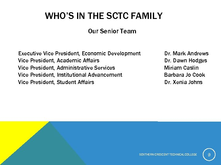 WHO'S IN THE SCTC FAMILY Our Senior Team Executive Vice President, Economic Development Vice