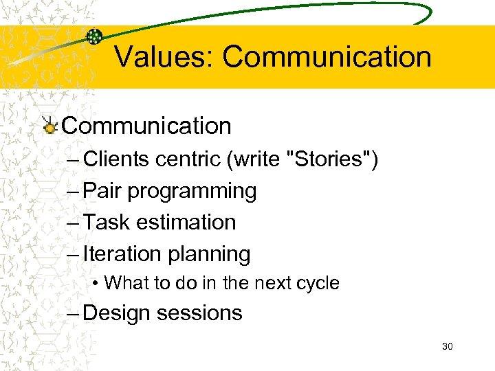 Values: Communication – Clients centric (write