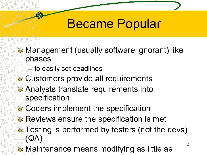 Became Popular Management (usually software ignorant) like phases – to easily set deadlines Customers