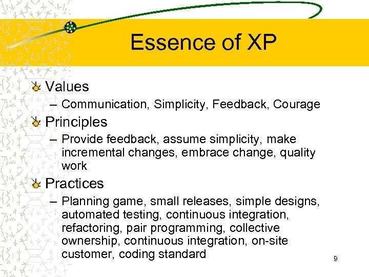 Essence of XP Values – Communication, Simplicity, Feedback, Courage Principles – Provide feedback, assume