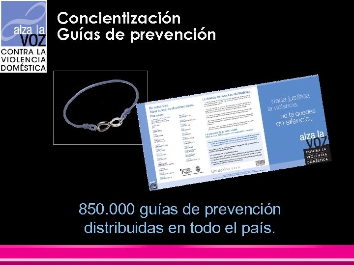 Concientización Guías de prevención 850. 000 guías de prevención distribuidas en todo el país.