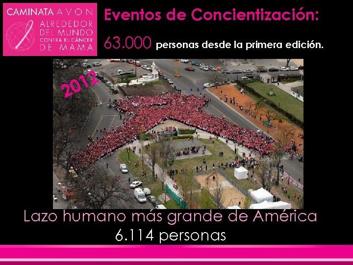 Eventos de Concientización: 63. 000 personas desde la primera edición. 12 20 Lazo humano