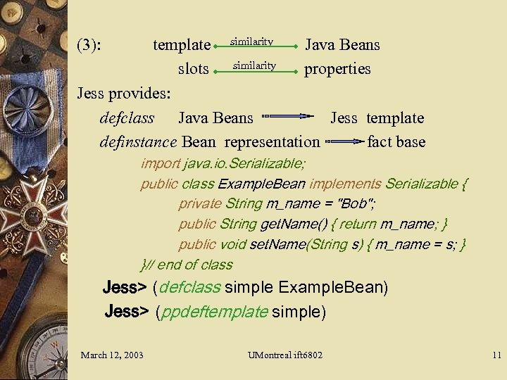 JESS Java Expert System Shell Course IFT 6802