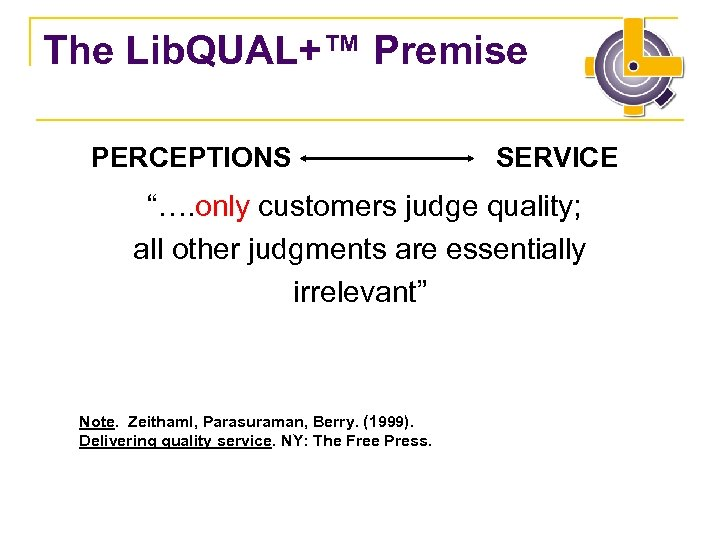 "The Lib. QUAL+™ Premise PERCEPTIONS SERVICE ""…. only customers judge quality; all other judgments"