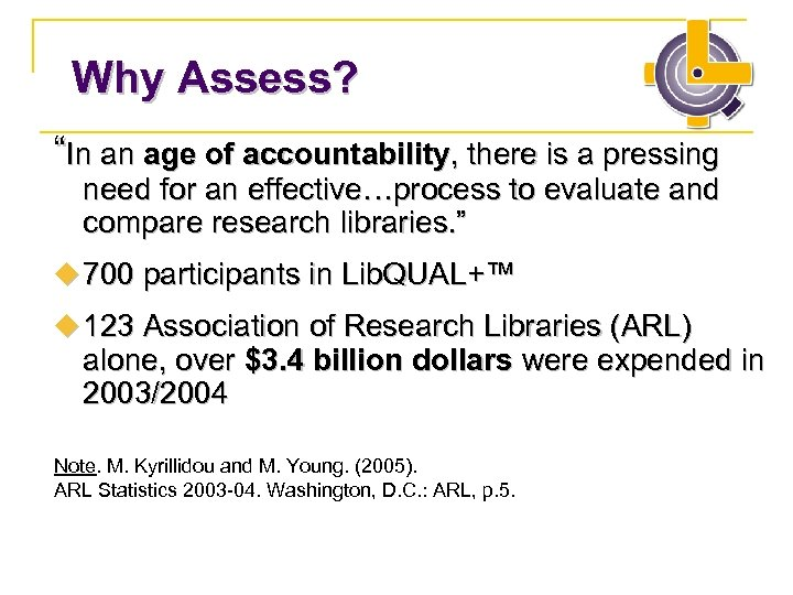 "Why Assess? ""In an age of accountability, there is a pressing need for an"