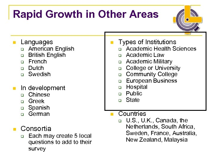 Rapid Growth in Other Areas n Languages q q q n American English British