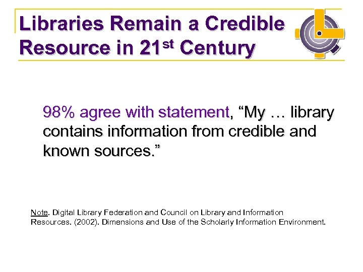 "Libraries Remain a Credible Resource in 21 st Century 98% agree with statement, ""My"