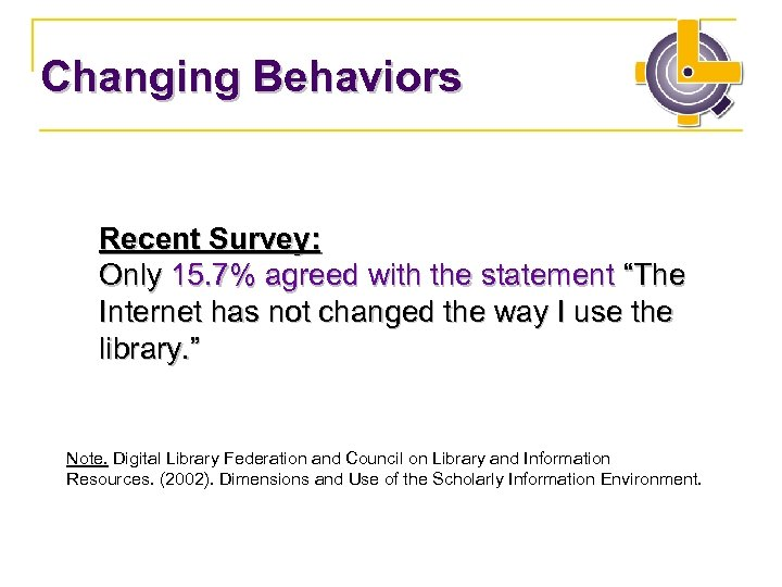 "Changing Behaviors Recent Survey: Only 15. 7% agreed with the statement ""The Internet has"