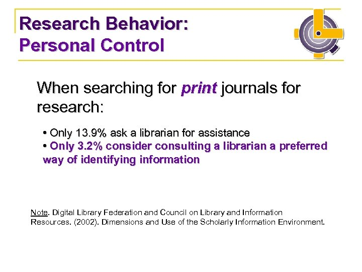 Research Behavior: Personal Control When searching for print journals for research: • Only 13.