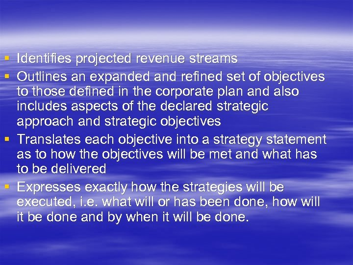 § Identifies projected revenue streams § Outlines an expanded and refined set of objectives