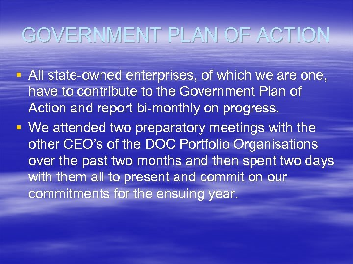 GOVERNMENT PLAN OF ACTION § All state-owned enterprises, of which we are one, have