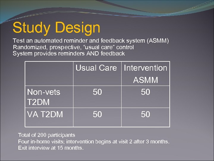 """Study Design Test an automated reminder and feedback system (ASMM) Randomized, prospective, """"usual care"""""""