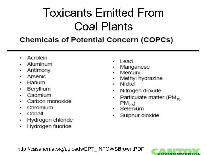 Toxicants Emitted From Coal Plants http: //casahome. org/uploads/EPT_INFOWSBrown. PDF