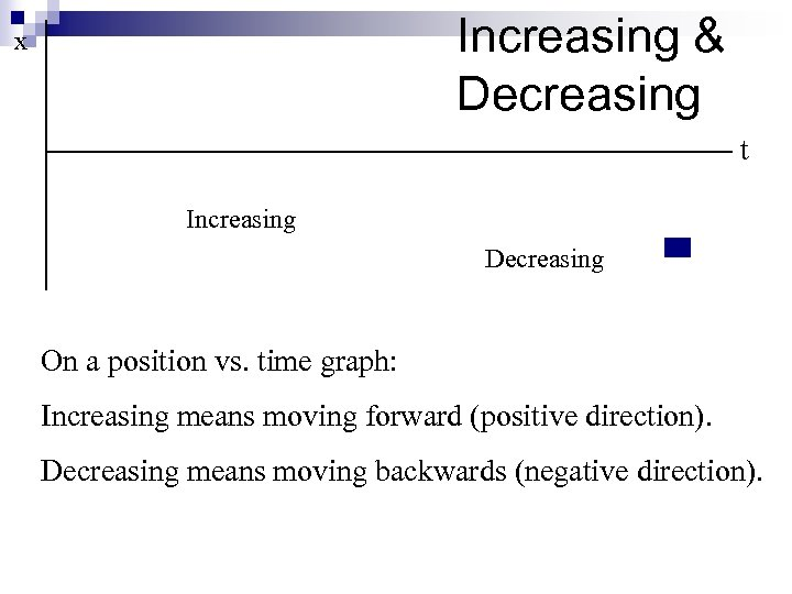 Increasing & Decreasing x t Increasing Decreasing On a position vs. time graph: Increasing