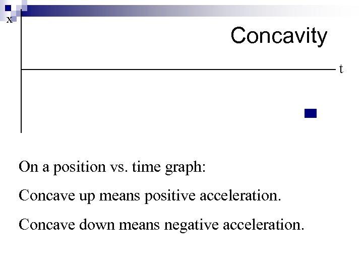 x Concavity t On a position vs. time graph: Concave up means positive acceleration.