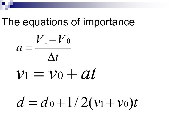 The equations of importance