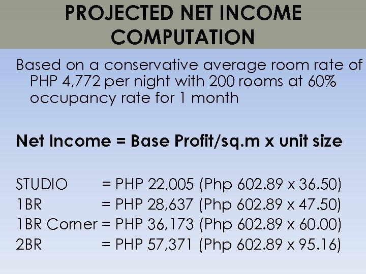 PROJECTED NET INCOME COMPUTATION Based on a conservative average room rate of PHP 4,