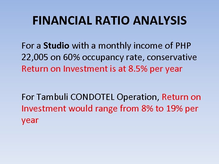 FINANCIAL RATIO ANALYSIS For a Studio with a monthly income of PHP 22, 005