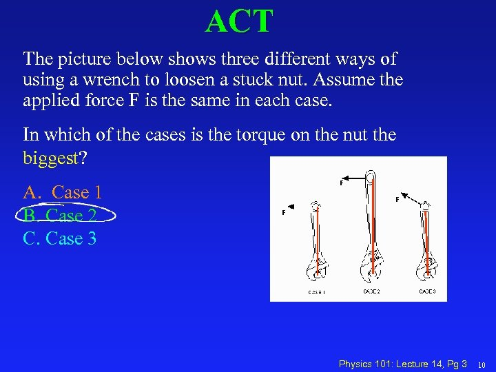 ACT The picture below shows three different ways of using a wrench to loosen