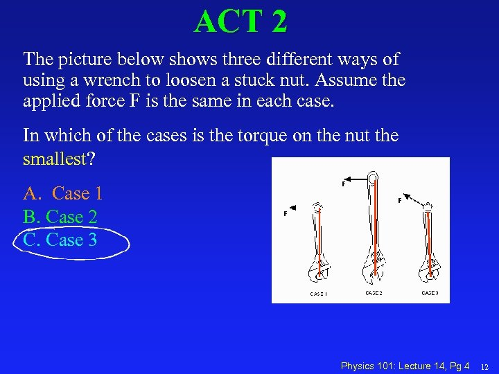 ACT 2 The picture below shows three different ways of using a wrench to