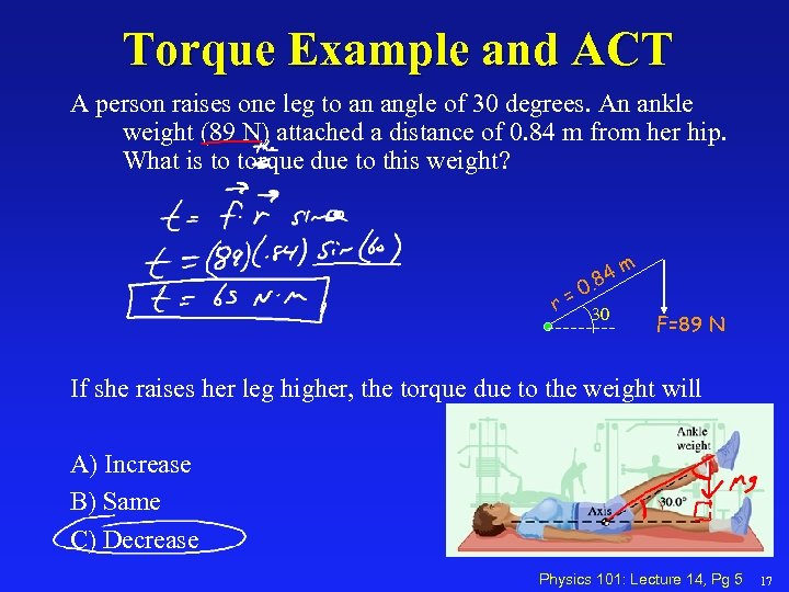 Torque Example and ACT A person raises one leg to an angle of 30