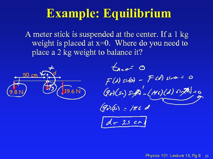 Example: Equilibrium A meter stick is suspended at the center. If a 1 kg