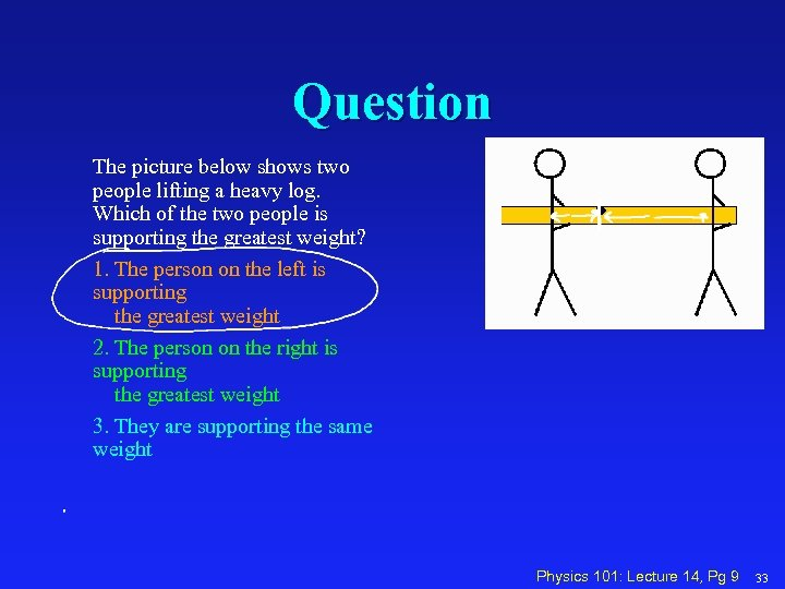 Question The picture below shows two people lifting a heavy log. Which of the