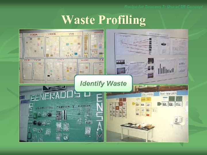 Recipe for Success 7: Use of 5 R Concept Waste Profiling Identify Waste