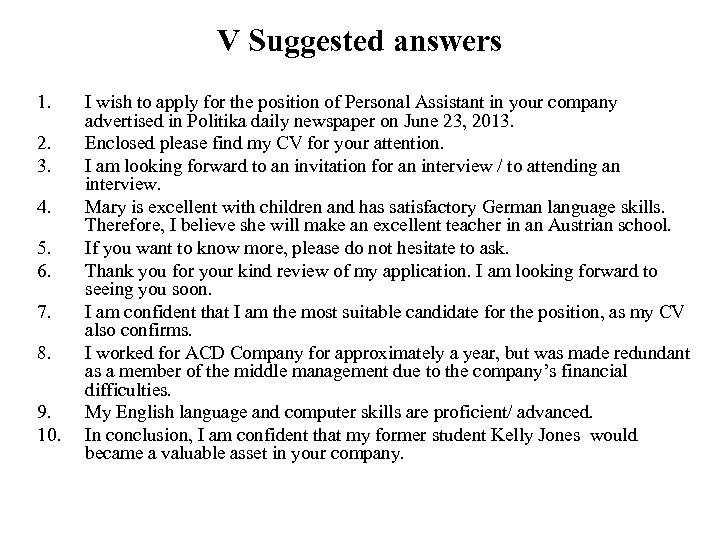 V Suggested answers 1. 2. 3. 4. 5. 6. 7. 8. 9. 10. I