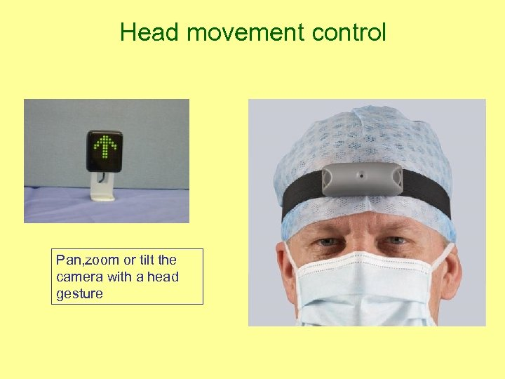 Head movement control Pan, zoom or tilt the camera with a head gesture